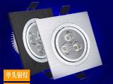 单头LED方形天花灯格栅灯3W/5W全套 拉丝银黑吊顶斗胆筒射灯