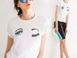 2015夏季欧美眼睛女 t恤女 纯棉上衣 十三行女装女T恤短袖批