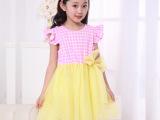 童装女童装2014韩版小飞袖格子儿童背心裙公主纱裙蛋糕裙