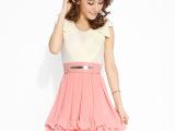2014夏季新款女装V领无袖雪纺连衣裙 甜美背心裙子