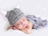 婴儿毛线帽可爱 宝宝帽子 手工宝宝帽 儿童百搭针织帽 小牛角帽