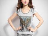 2014夏装新款韩版时尚印花短袖t恤女夏修身运动休闲套装 女