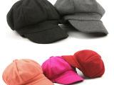 韩国纯色毛呢贝雷八角帽子秋天冬季韩版男女复古报童帽文艺画家帽