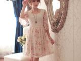 2014秋装韩国新款连衣裙 日系小爪牙 雪纺碎花裙蕾丝裙中袖连衣