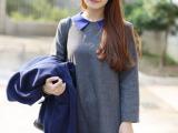 混批2014秋韩版撞色娃娃领九分袖A字裙女士呢子连衣裙娃娃裙