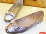 现货2014新款品牌进口水钻平底单鞋 蝴蝶结大码女休闲平跟秋鞋