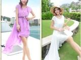 波西米亚沙滩裙前短后长连衣裙雪纺不规则显瘦燕尾裙子夏
