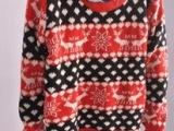 2013秋冬新款韩版圣诞菱形卡通麋鹿雪花 宽松圆领套头毛衣