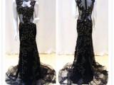 2015新款无袖纱裙修身礼服 黑色高档包臀收腰小拖尾鱼尾婚纱 批发