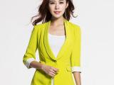 优衣美韩版修身春秋春装新款2015小外套女装小西装七分袖黄色16