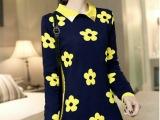2014秋季女装新款电脑提花方领太阳花中长款长袖毛衣针织衫
