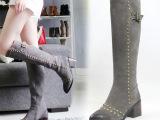 一件代发 秋冬磨砂真皮长筒靴铆钉粗跟高筒女靴子 尖头高跟及膝靴