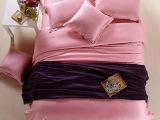 100%双面天丝四件套 纯色素色双拼床单床笠式床上用品一件代发