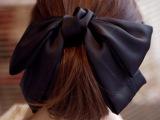 韩版饰品气质纯色宽布超大蝴蝶结发饰发夹头饰顶夹发卡弹簧夹6048