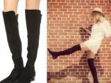 2014秋冬新款 时尚小辣椒款 S B街拍款 圆头羊皮矮跟过膝靴