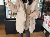 新款韩版连帽中长款棉衣大码加厚女士毛线 假两件棉服女 外套