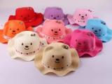 新款儿童 波浪边小熊草帽 男女小孩夏季卡通造型宝宝帽子 太阳帽