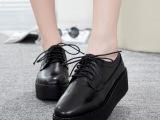 雅媚2014女鞋新款潮 英伦真皮系带厚底松糕鞋 高跟女单鞋平底鞋