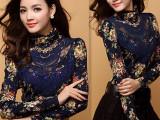 特价欧韩版新品质女装烫钻蕾丝高领修身长袖打底衫加绒