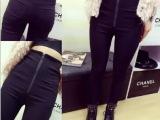 2015秋季新款韩版拉链弹力显瘦打底裤外穿后背交叉修身小脚铅笔裤