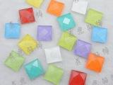 果冻色10mm正方形水晶散珠子玻璃钻平底钻 手机贴钻 平底水钻