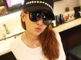 韩国VIVI 杂志同款金属亮片平顶军帽 潮人男女通用情侣帽子