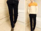 秋季男装新款加厚灯芯绒休闲裤英伦街头时尚风修身小裤脚黑色男裤