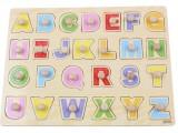 木制质大写英文字母认知手抓板拼图拼板 儿童益智宝宝动手玩具