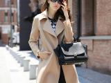 2015新款10件起订i纯手工高端双面羊绒大衣女修身毛呢外套中长