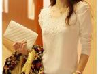 秋装新款百搭韩版订珠长袖修身显瘦T恤时尚纯色圆领打底衫潮