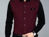 一件代发 2014春装新款男士衬衫男长袖男商务休闲羊毛衬衣商男