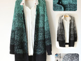 秋冬新款 直销韩版修身显瘦渐变色 女式毛衣针织开衫外套 8143