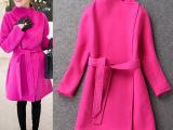 2014冬装新款 欧洲站女装批发 时尚玫红色羊毛呢子大衣(配腰带