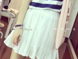 夏季2014韩版短裙小清新纯色好质量褶皱小短裙 雪纺短裙批发77