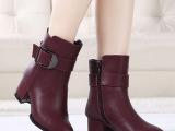 欧洲站女鞋2015新款秋冬季加绒女靴韩版真皮高跟短靴粗跟马丁靴子