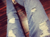 0270#2015女装牛仔裤韩版宽松破洞洗水做旧时尚长款高腰牛仔