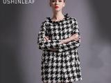 2014冬季新款欧美女装风衣大衣 女士外套 女式外贸长款千鸟格大