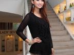 2014春款女装 时尚简约裙摆式女式t恤 高弹性网纱百搭长袖打底衫