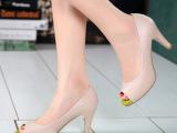 女单鞋批发 2015欧美春夏新款真皮高跟女鞋 粗跟鱼嘴拼色浅口女