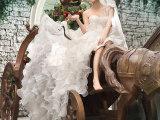 2015新款婚纱礼服韩版单肩前短后长拖尾个性影楼主题服