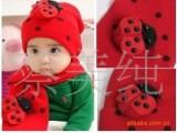 热卖 加大加密 高品质儿童甲壳虫 瓢虫针织毛线 帽子围巾套装