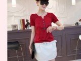 2014夏季新款韩版百搭V领显瘦网纱纽扣短袖女款T恤