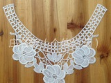 汕头厂家 供应现货牛奶丝装饰刺绣水溶对花领花棉线胸花后背花