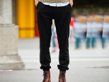 高街原创设计款 黑色男基本简约束脚口长裤 马裤 休闲裤