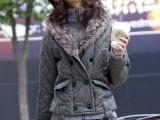 特价清仓批发冬装女装韩版拉格双排扣连帽大毛领加厚保暖棉袄外套