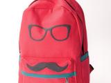 新款休闲眼镜双肩包帆布背包胡子学生书包时尚韩版背袋批发