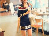 秋冬韩版女装V领拼色修身条纹打底毛衣裙海军风长袖包臀针织衫