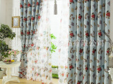 红色小熊双面印花遮光窗帘布料 儿童卡通幼儿园绍兴窗帘布批发