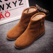 2014欧美洲站秋冬季新款时装鞋子短靴市场真皮女粗低跟英伦马丁靴