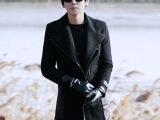 外贸精品2014新款时尚韩版男士修身长款风衣 皮革拼接风衣外套